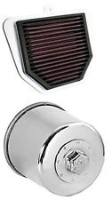 K&N Motorcycle Air Filter + Oil Filter Chrome Combo YA-1006 + KN-204C
