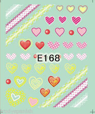 Nail Art Water Decals Transfers Neon Pink Lace Hearts Bows UV Tips Decoration