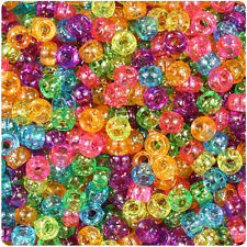 1000pc Jelly Mix Sparkle 7mm Barrel Pony Beads Made in the USA by The Beadery