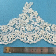 1 METRE CREAM / IVORY BEADED LACE BRIDAL TRIM TRIMMINGS 130mm WIDTH HL1058