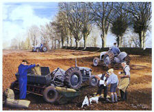 Spring Sowing Seed Beautiful Picture Painting Country Poster Tractor Field