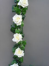 8FT!!! Artificiale Ivy & Ivory Silk Rose Ghirlanda Matrimonio / Festa Decorazione