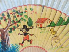Superb Disney 1930's Mickey Mouse Hand Fan Hand Painted In Wood And Tissue