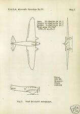 Couzinet Arc-en-Ciel 70 71 1930's Monoplane archive manual RARE HISTORIC