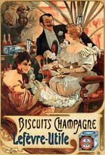 BISCUITS CHAMPAGNE, 1896 Alphonse Mucha Reproduction CANVAS PRINT 24x33 in.