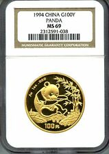 CHINA  1994  PANDA  GOLD   NGC MS 69    1  OZ  SMALL  DATE      RED HOT