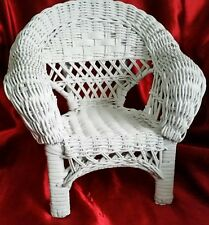 "Vintage White  Wicker Doll Chair 13"" x 9"" x 12"""