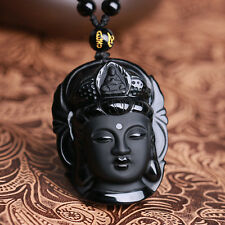 100% beautiful Chinese Black Natural A Obsidian Carved Kwan-yin pendant