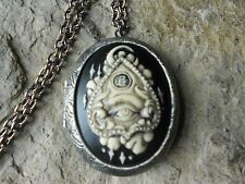 OUIJA BOARD HAND PAINTED CAMEO LOCKET - SPIRIT BOARD, WITCH, YES, SUPERNATURAL