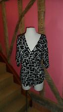 Size 16 Short Sleeve Blouse in Black, Silver & White in a Cotton Blend by Wallis