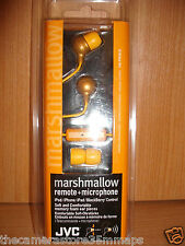 NEW IN PACKET JVC MARSHMALLOW HEADPHONES~REMOTE~ MICROPHONE ORANGE HA-FR36-D