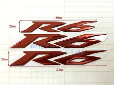New R6 Raised 3D Chrome Red Decal Emblem Fairing Sticker Yamaha YZF600 R6 Bling