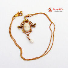 Vintage Lavaliere Cameo and Seed Pearl Necklace 14 K Gold