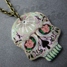 Mini Sugar Skull Day of the Dead Tattoo Necklace Kitsch Rockabilly Psychobilly 3