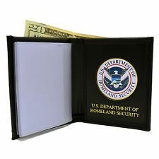 Homeland Security Single ID Slot Wallet Perfect Fit Black Leather DHS Emblem