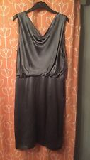 LK Bennett Silver Grey Pewter Silk Dress Size 16