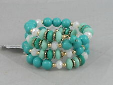 Macy's I.N.C. International Concepts Gold Aqua Turquoise Beaded Coil Bracelet