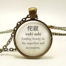Japanese Proverbs Necklace, Beautiful Saying Quote, Wabi-Sabi Pendant (1977B1IN)