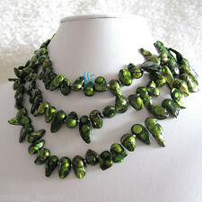 """47"""" 7-8mm Green Black Wave Baroque Freshwater Pearl Necklace Strands Jewelry"""