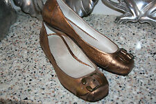RIVER ISLAND FLATS WOMENS SHOES SIZE 5 UK 7.5 US MADE IN PORTUGAL BRONZE LEATHER