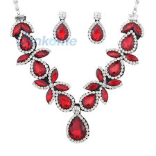 Silver Plated  Crystal Waterdrop Gemstone Statement Bib Necklace Earrings  Red