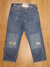 Levis Vintage Distress LVC 1915 501 White Oak Blue Selvage Cinch Brace Jeans W34