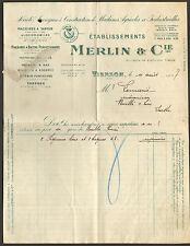 18 VIERZON FACTURE ETS MERLIN MACHINES AGRICOLES 1927