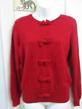 Johnstons of Elgin - Red fine knit silk & cashmere jumper with bow detail - M