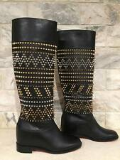 NIB Christian Louboutin Rom Chic Spike Leather Black Knee Tall Boots 35.5 $2295