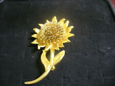 Vintage Goldtone Metal Filagree Sunflower Blossom Brooch Pin