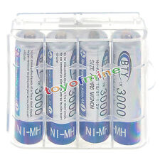 4pcs AA 3000mah 2A HR6 NiMH Rechargeable Battery + 1x Plastic Case