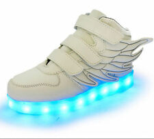 LED Light Up USB Charge Kids Boys Girls Angle Wing Velcro Sneakers Trainer 2016!