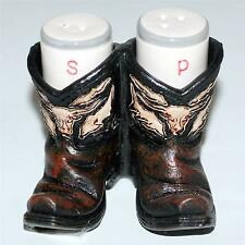 "WESTERN COWBOY Polyresin 3-1/2"" x 3-1/2"" BOOTS SALT and PEPPER HOLDER SHAKERS"