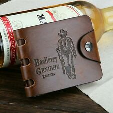 Baellery Bailini Vintage Style Brown Stylish Hunter Men Leather Bifold Wallet