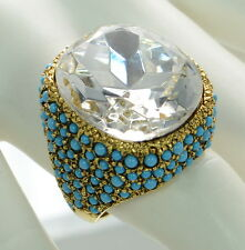 Kenneth Jay Lane Polished Gold Turquoise & Crystal Cocktail Ring Sz.- 7