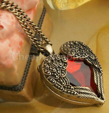 Vintage Womens Girls Love Red Stone Heart Wings Pendant Necklace Long Chain