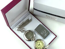 ROCKY MARCIANO Signed Half Hunter Silver POCKET WATCH LIGHTER Luxury Gift Case