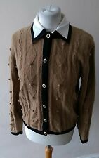 VINTAGE RETRO WOMENS STUNNING LAMBS WOOL ANGORA MIX CARDIGAN TOP SIZE M 12 14