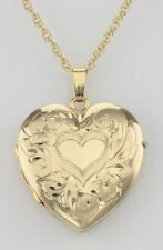 14K Gold Filled 4 Photo Heart Locket with Chain - Made in USA - Free Shipping