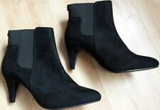 BN BLACK ANKLE SHOE BOOTS MID HEEL POINTY TOE SIZE 5 38