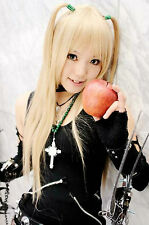 HOT Sell! Death Note AMANE MISA Long Cosplay Wig Light Golden wig + cap