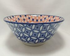 """Japanese Chinese Rice Soup Noodle Bowl 5-1/2"""" Blue Red Abstract Made in Japan"""