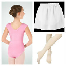 Body Wrappers BWC120 Girl's 3-4 (TOD) Pink Short Sleeve Leotard Tights & Skirt
