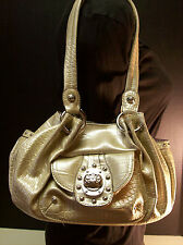 Kathy Van Zeeland Beige Croc Metallic Handbag Shoulder Bag Studded Satchel Purse