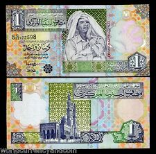 LIBYA AFRICA 1 DINAR P64 2004 GADAFFI UNC GADAFFY CURRENCY MONEY BILL BANK NOTE