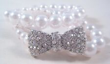 Stunning New 3 Piece Faux Pearl Bow Bracelet Set Loaded with Crystals #B1337