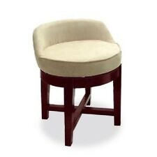 Swivel Vanity Stool Low Profile Padded Seat Chair Upholstered Wood Cherry Short