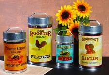 "Vintage Kitchen Canisters 7.25-10.25"" Tin Red Rooster Sunbonnet Sugar Coffee Tea"