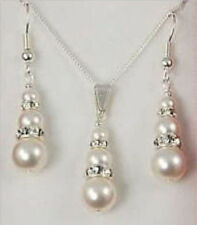 1 set 6-8-10mm bridal white shell pearl&crystal pendant earrings