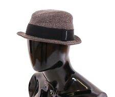 NWT $240 DOLCE & GABBANA Brown Wool Logo Fedora Trilby Hat Cappelo s. 58 / M